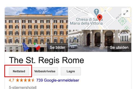 Slik finner du hotellets egen hjemmeside