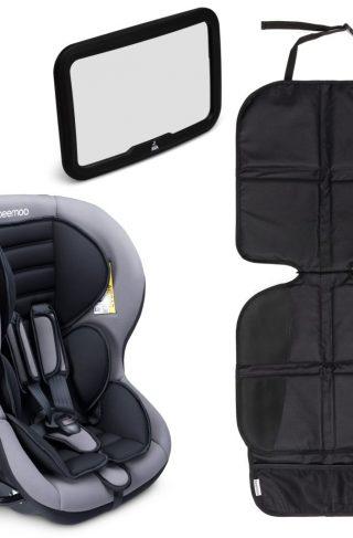 Beemoo Bakovervendt Bilstol med Bilspeil og Sparketrekk Lux, Grå
