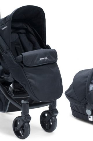 Beemoo Premium Søskenvogn, Black Melange/Black + Liggedel