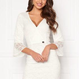 Chiara Forthi Pearl flounce wrap dress White 34
