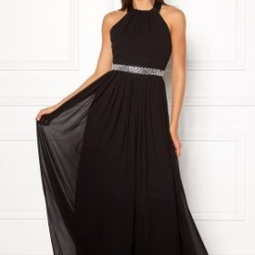 Goddiva Halterneck Chiffon Dress black XL (UK16)