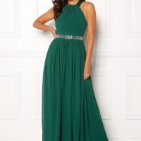 Goddiva Halterneck Chiffon Maxi Dress Green S (UK8)