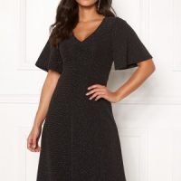 Happy Holly Olivia lurex dress Black / Silver 44/46
