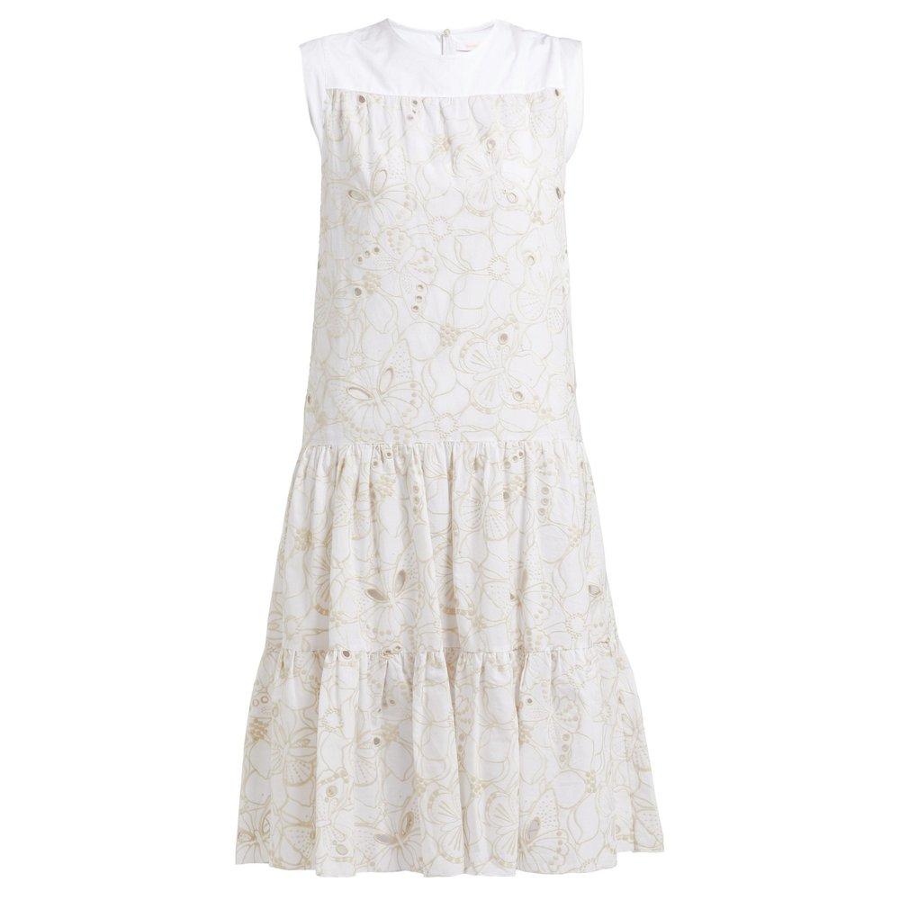 Hvit  Tiered Floral Broderie-Anglaise Cotton midi dress  See by Chloé  Festkjoler - Dameklær er billig
