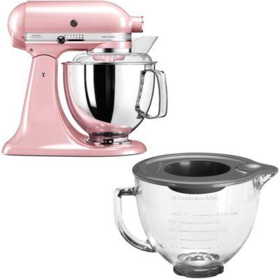 KitchenAid Artisan 175 Silky Pink + Glassbolle 5KGB