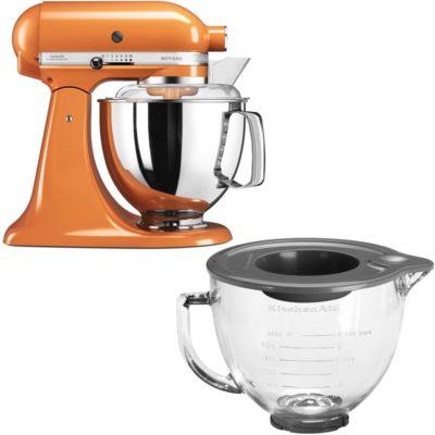 KitchenAid Artisan 175 Tangerine + Glassbolle 5KGB