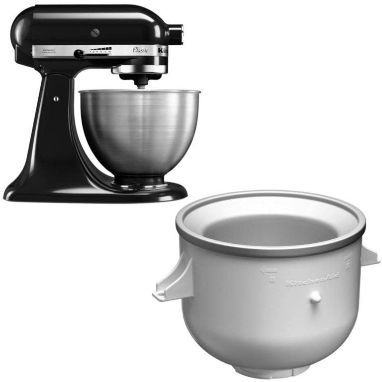 KitchenAid Classic Kjøkkenmaskin Svart + Iskremtilbehør
