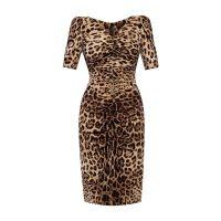 Leopard-printed silk dress