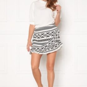 ONLY Lucca Wrap Skirt White, AOP CD/Black 34