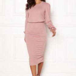 BUBBLEROOM Besa rib dress Dusty lilac XL