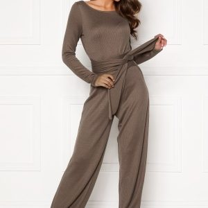 BUBBLEROOM Josie knitted jumpsuit Light brown 38