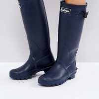 Barbour Bede classic welly boot with tartan lining-Navy