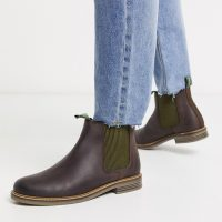 Barbour Farsley leather chelsea boots in dark brown