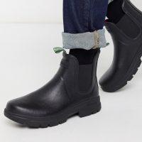 Barbour Fury chelsea wellington boots in black