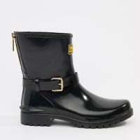 Barbour international low shiny biker wellington boots with buckle and zip detail-Black