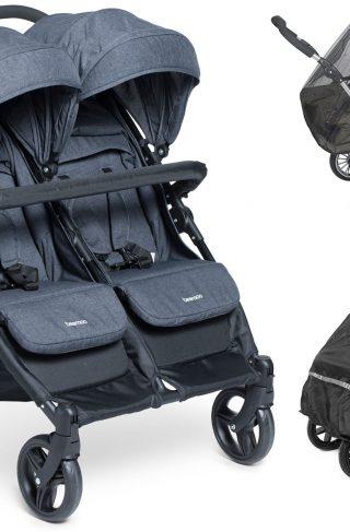 Beemoo Twin Shopper Travel Lux, Dark Blue + Regntrekk & Myggnett