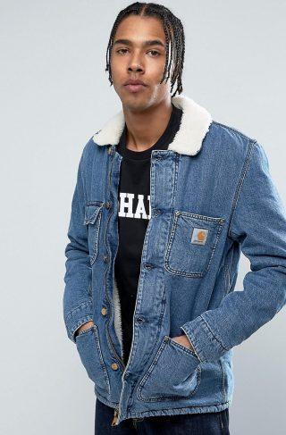 Carhartt WIP Denim Phoenix Jacket With Faux Shearling Collar-Blue
