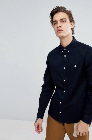 Carhartt WIP Long Sleeve Madison Oxford Shirt In Navy