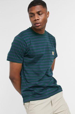 Carhartt WIP parker stripe pocket t-shirt in navy