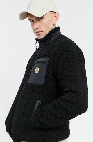 Carhartt WIP prentis sherpa full zip sweat in black