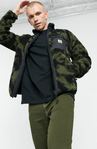 Carhartt WIP prentis sherpa full zip sweat in camo-Green