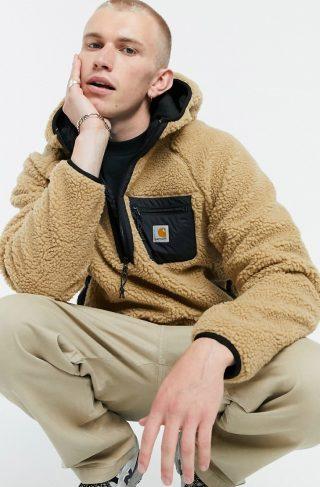 Carhartt WIP prentis sherpa hoodie in brown
