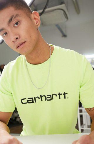 Carhartt WIP short sleeve script t-shirt in lime & black-Green