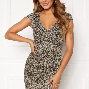 Chiara Forthi Soprano Sparkling Wrap Dress Leopard XS