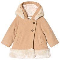 Chloé Faux Fur Trim Winter Jacket Brown 12 months