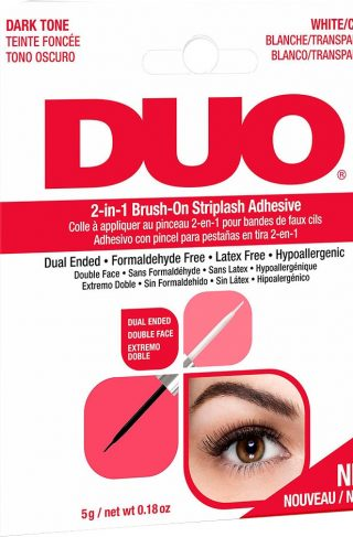 DUO 2-in-1 Brush-On Adhesive Clear & Dark, 5 g Andrea Løsvipper