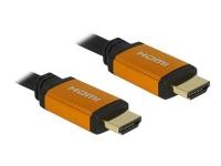 DeLOCK - HDMI-kabel - HDMI (hann) til HDMI (hann) - 1 m - trippel beskyttelse - svart, gull - 8K-støtte