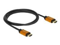 DeLOCK - HDMI-kabel - HDMI (hann) til HDMI (hann) - 1.5 m - trippel beskyttelse - svart, gull - 8K-støtte
