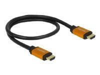 DeLOCK - HDMI-kabel - HDMI (hann) til HDMI (hann) - 50 cm - trippel beskyttelse - svart, gull - 8K-støtte