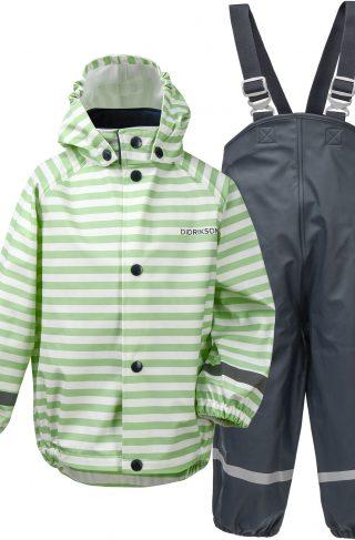Didriksons Slaskeman Regnsett, Split Green Simple Stripe, 110