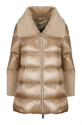 Down Jacket With FUR Details