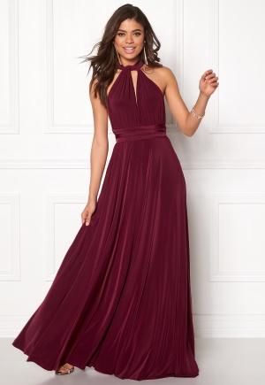 Goddiva Multi Tie Maxi Dress Berry XS (UK8)