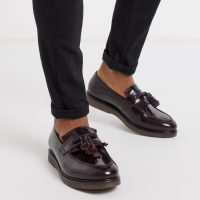 H By Hudson calne loafers in hi shine burgundy-Red
