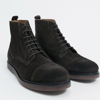 H by Hudson calverston toe cap boots in brown suede