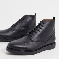 H by Hudson leith toe cap boots in pebble black