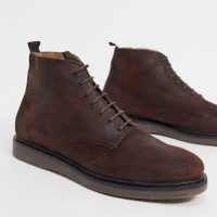 H by Hudson troy lace up boots in brown waxy leather