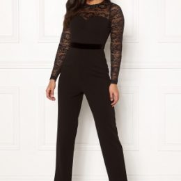 Happy Holly Anna lace tricot jumpsuit Black 46