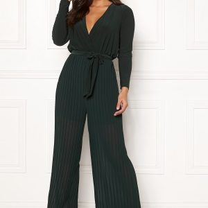 Happy Holly Bianca pleated jumpsuit Dark green 44/46