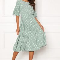 Happy Holly Eloise pleated dress Light mint / Dotted 40/42