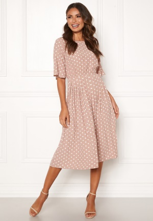 Happy Holly Eloise pleated dress Pink / Dotted 48/50