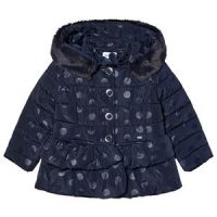 Mayoral Dots Peplum Puffer Jacket Navy 7 years
