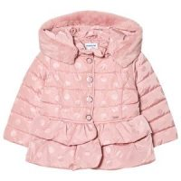 Mayoral Dots Peplum Puffer Jacket Pink 7 years