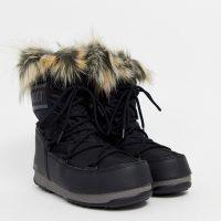 Moon Boot Monaco faux fur cuff snowboots in black