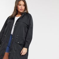 Only Curve longline anorak in black