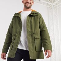 Only & Sons lightweight parka jacket in olive green