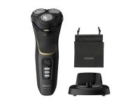 Philips Norelco Shaver 3300 Våt eller tørr elektrisk barbermaskin, Series 3000, Roterende hode, 2 år, Svart, Lade, Kraft indikator, Batteri, Lithium-Ion (Li-Ion)